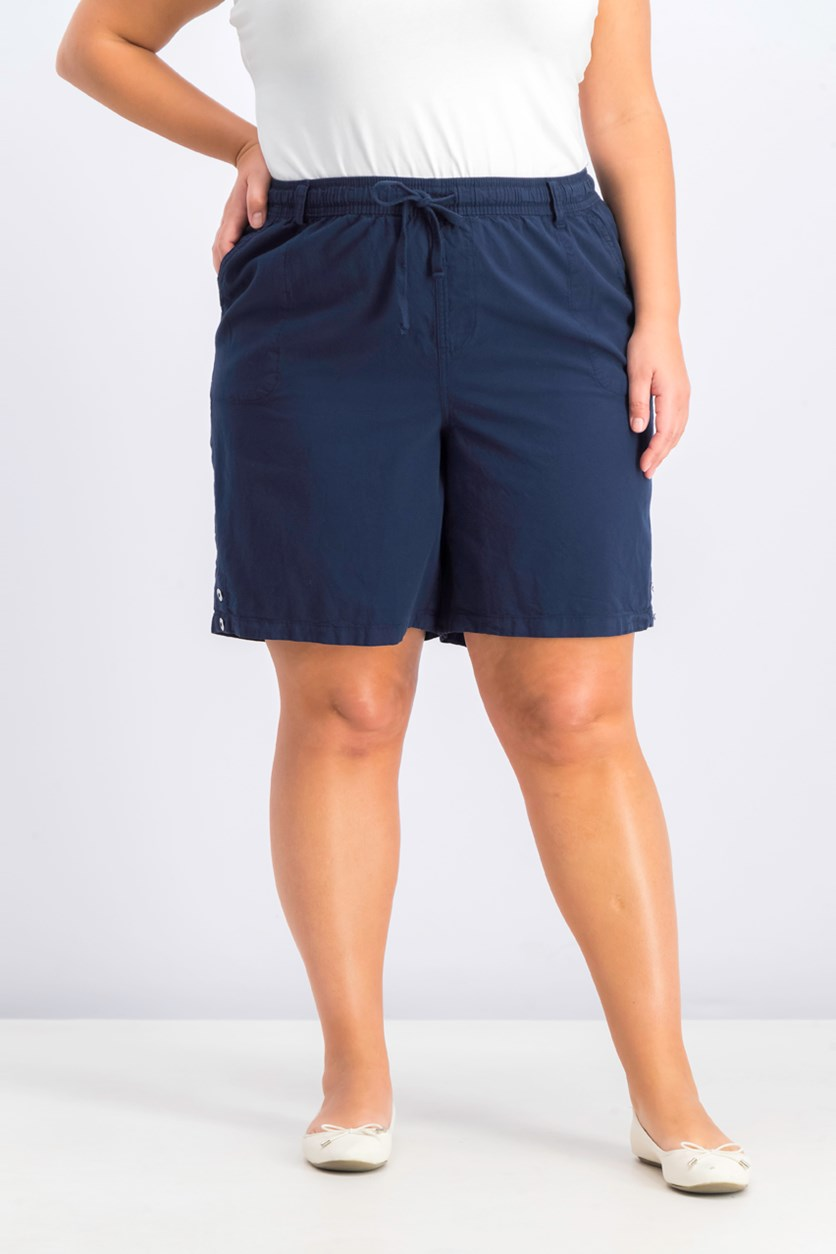 Women's Plus Size Cotton Pull-On Shorts, Intrepid Blue