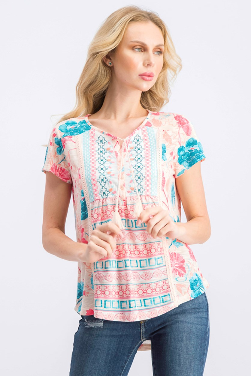 Women's Petite Crochet-Trim Top, Pink Combo