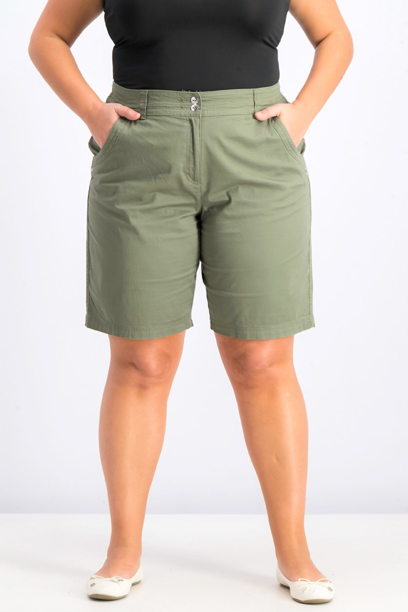 Women's Curved Pocket Shorts, Olive