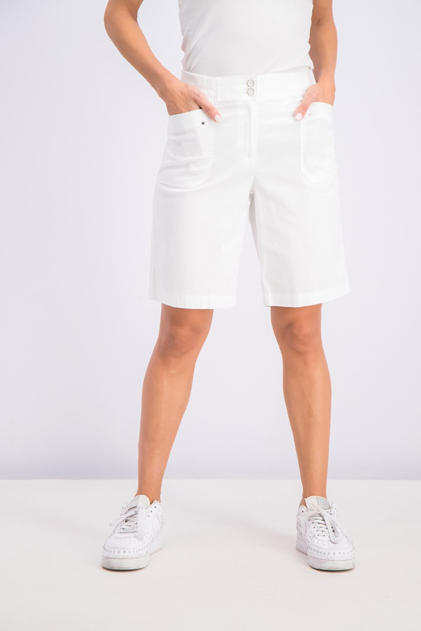 Knit-Waistband Bermuda Shorts, Bright White