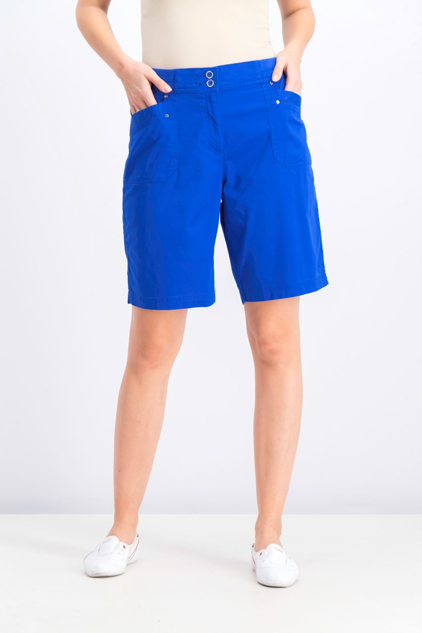 Women's Knit-Waistband Bermuda Shorts, Ultra Blue