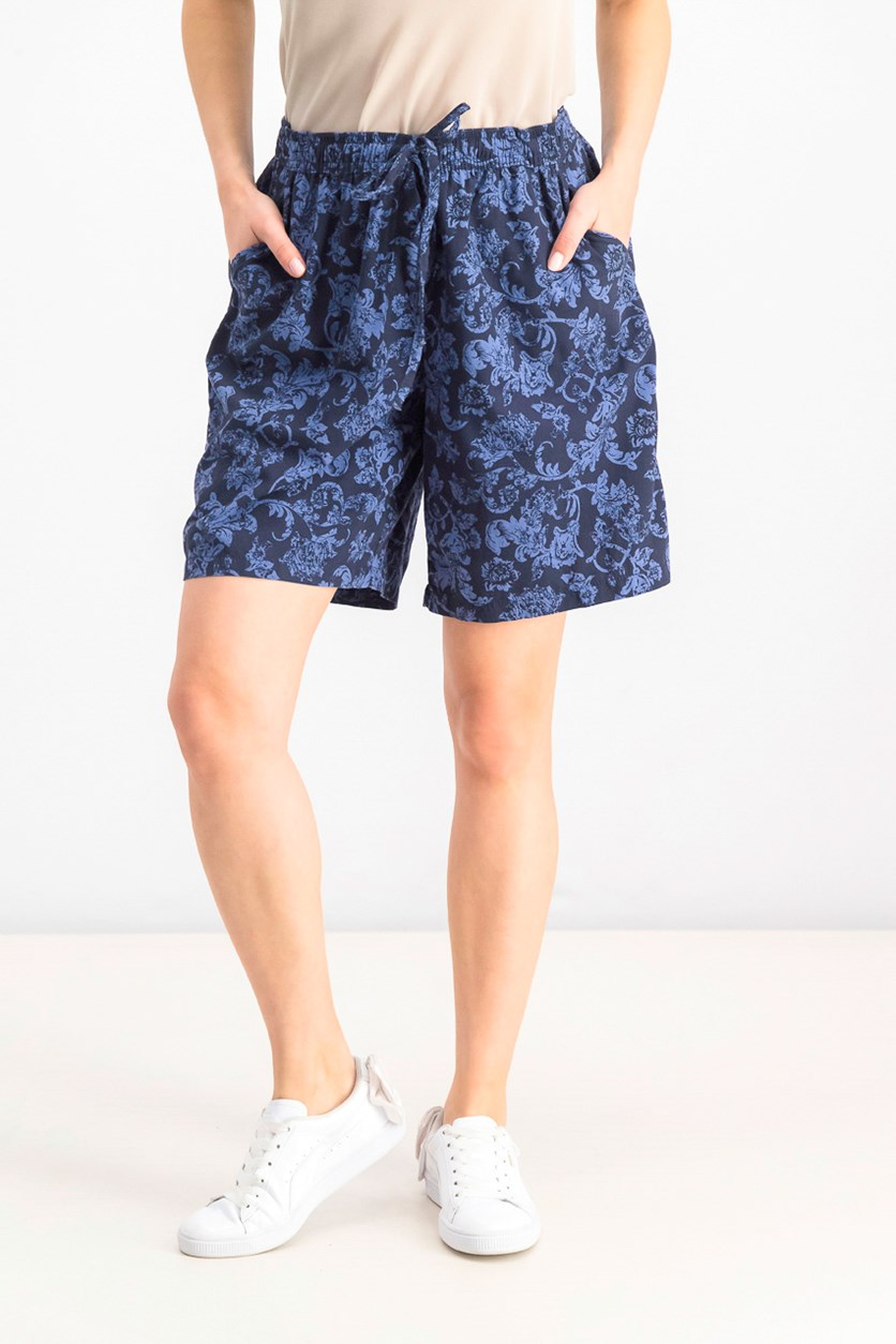 Women's Printed Drawstring Shorts, Blue
