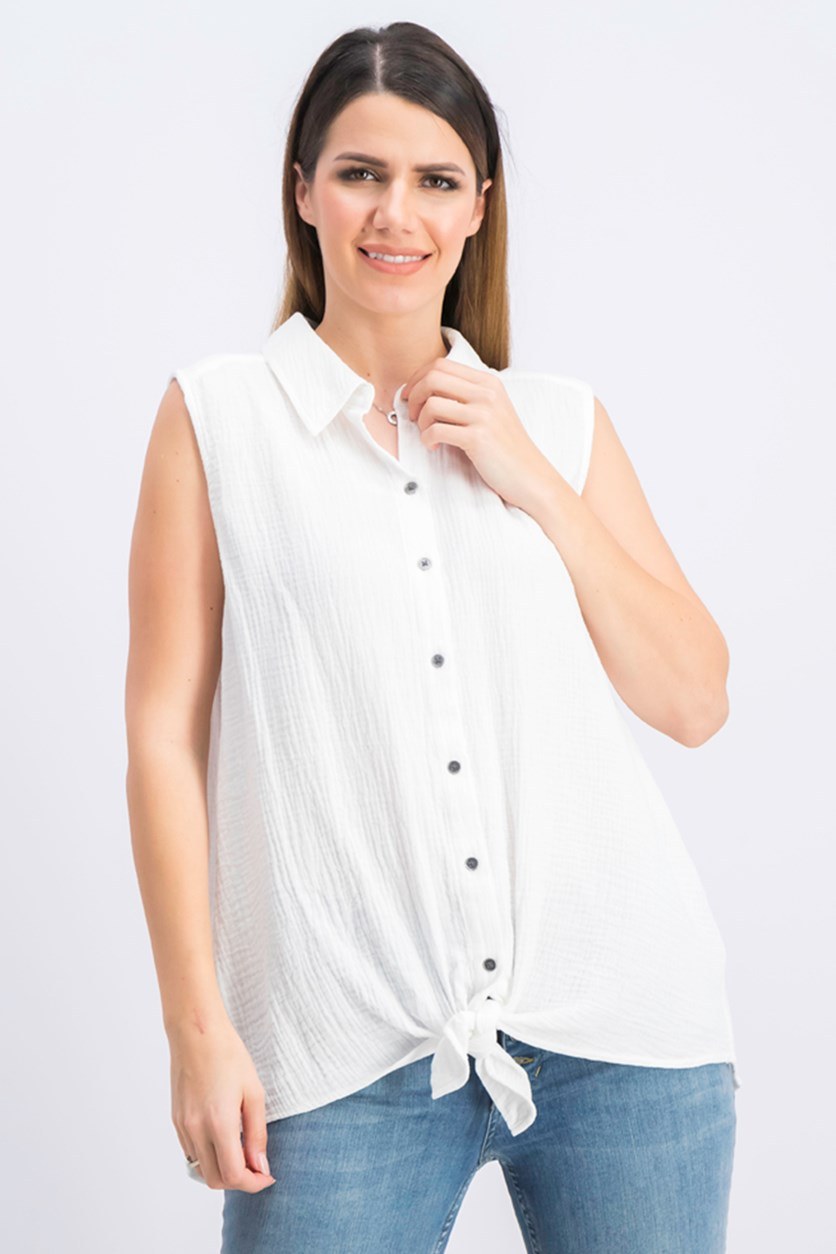 Women's Petite Tie-Front Button-up Top, Bright White