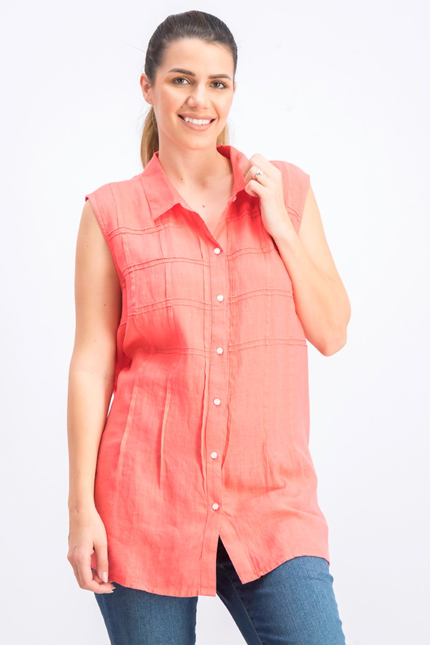 Women's Sleeveless Button-Front Textured Linen Top, Tuscon Coral