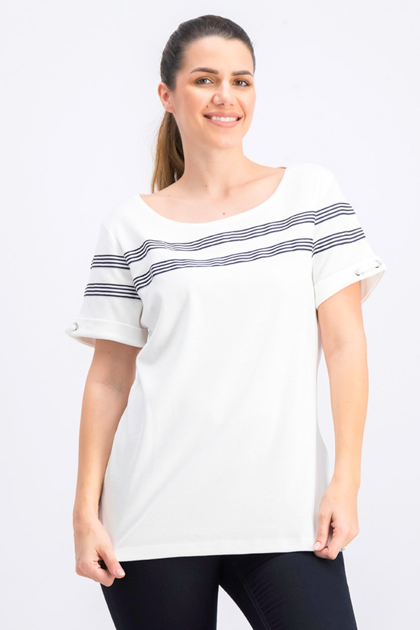 Women's Striped-Ribbon-Trim Cotton Top, Bright White