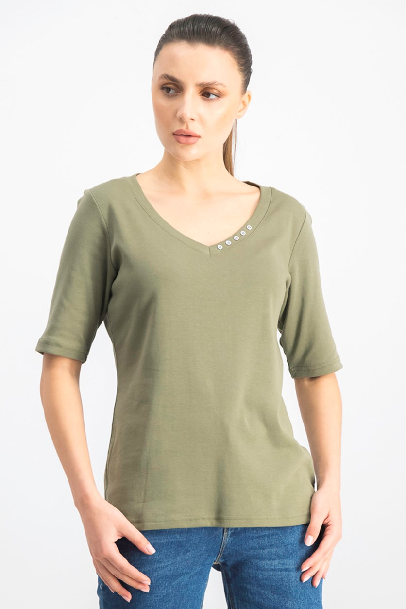Women's Cotton V-Neck T-Shirt, Olive