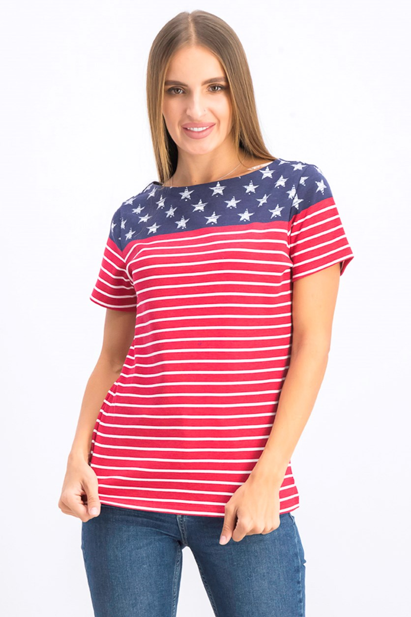 Women's Flag Print Boat Neck Top, Red Amore Combo
