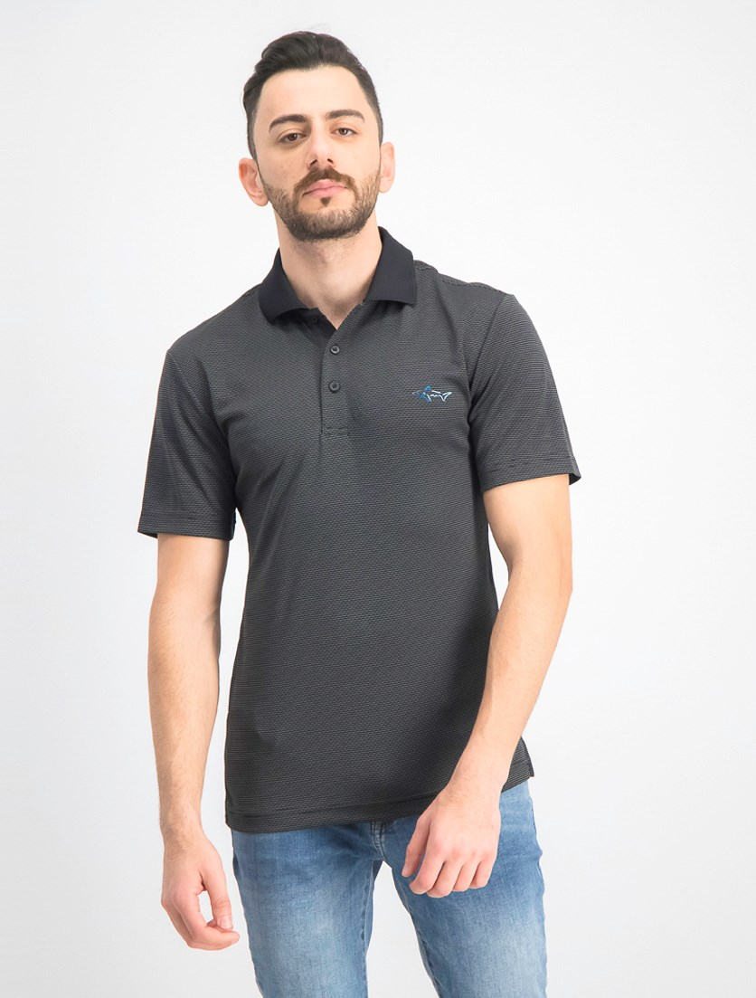 Men's Slim-Fit Jacquard Polo, Deep Black