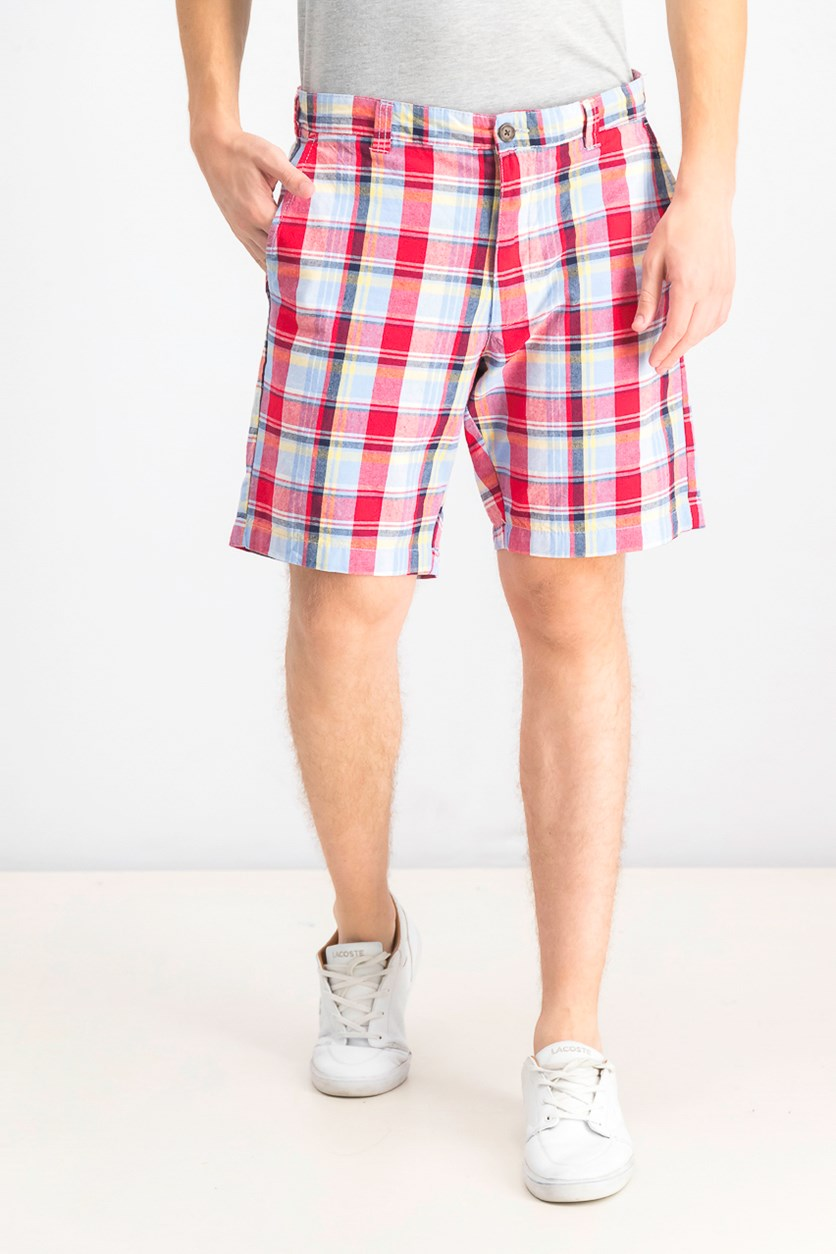 Men's Plaid Shorts, Red Combo