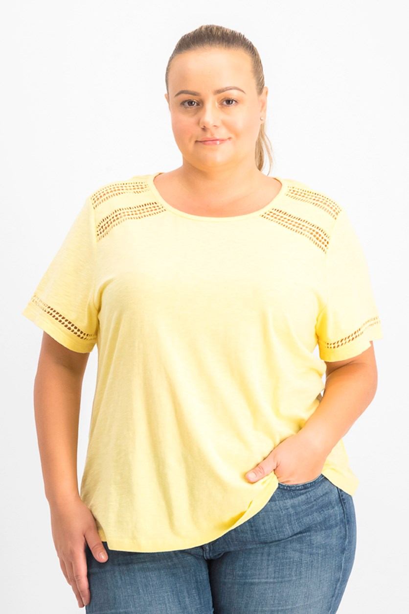 Women's Lace-Trim Top, Citron Aura
