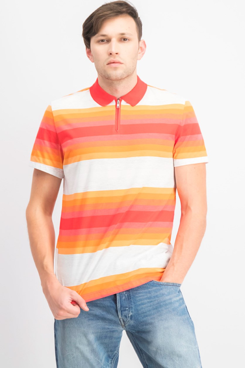 Men's Regular-Fit Yarn-Dyed Stripe Polo, Bonfire Red