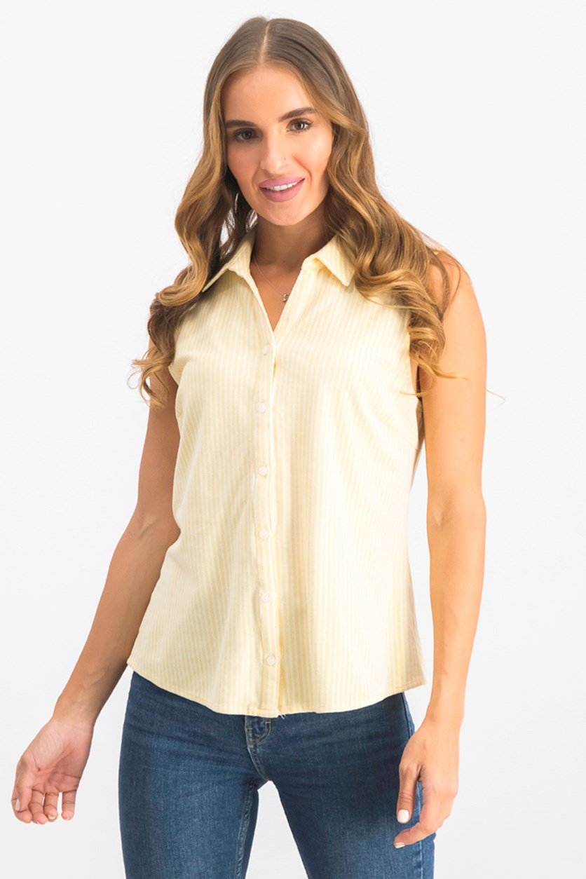 Women's Petite Cotton Striped Pique Shirt, Yellow
