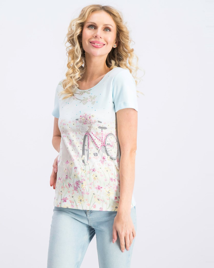 Petite Embellished-Graphic Top, Pacific Aqua
