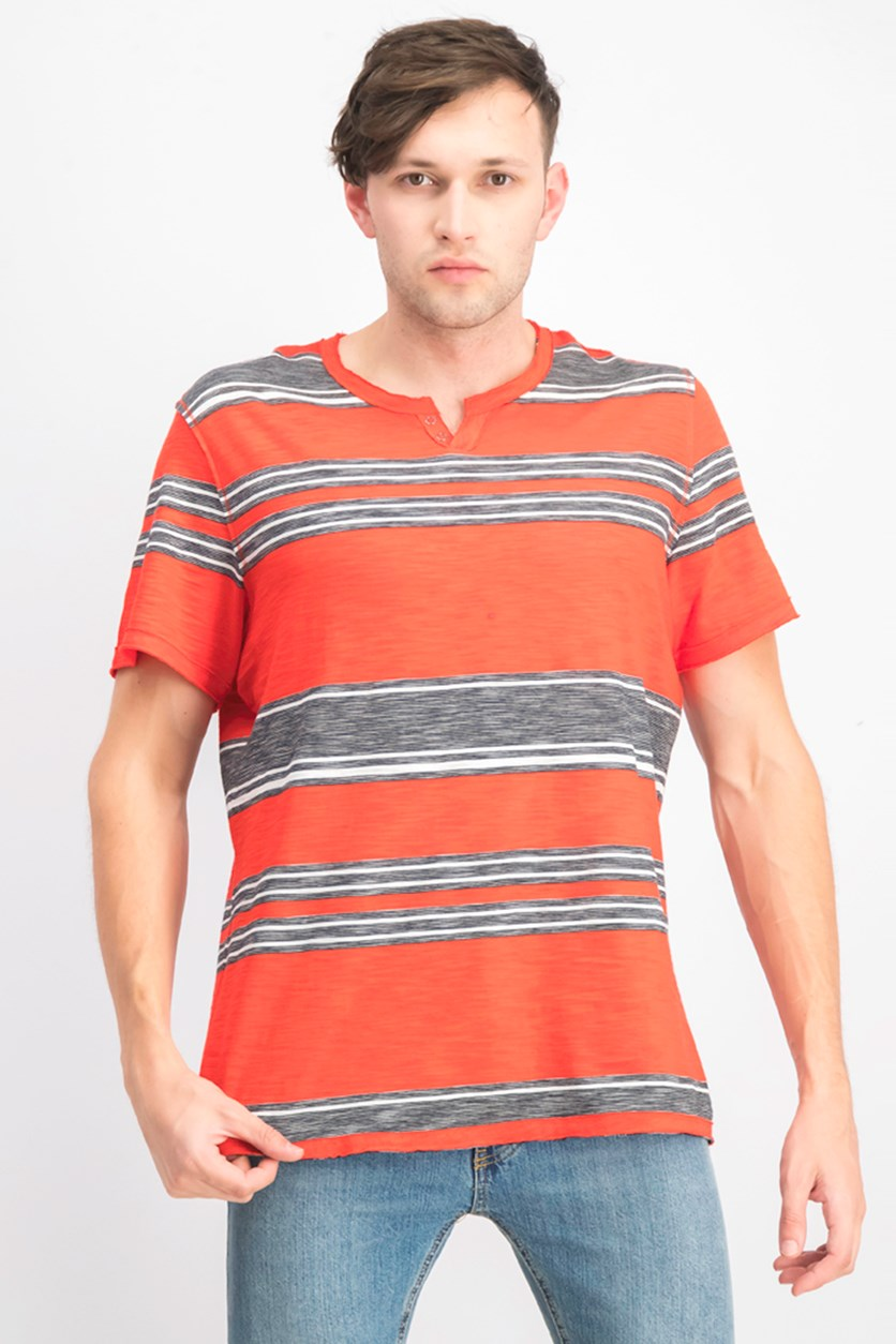 Men's Stripe Split-Neck T-Shirt, Red/Black