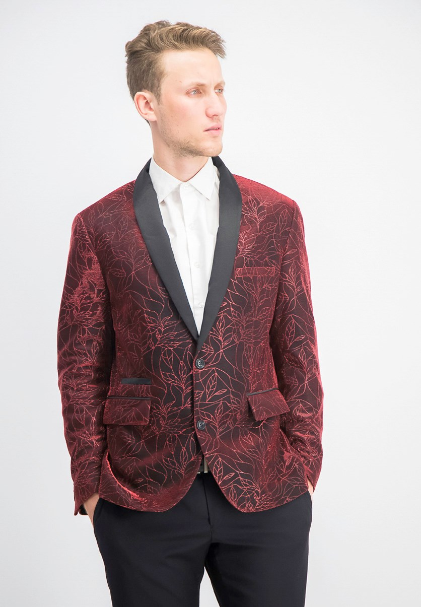 Men's Slim-Fit Floral Blazer, Hot Sauce Combo