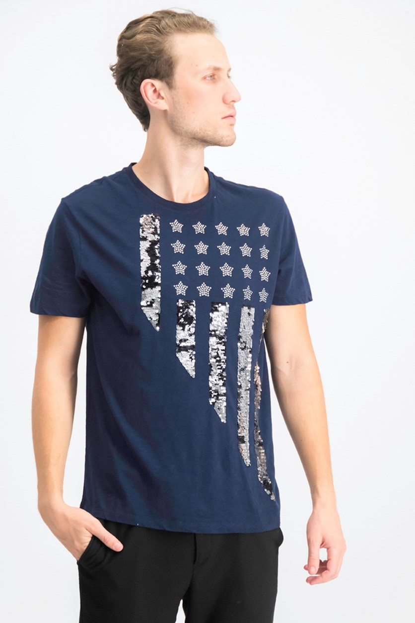 Men's Stars & Stripes Graphic T-Shirt, Basic Navy