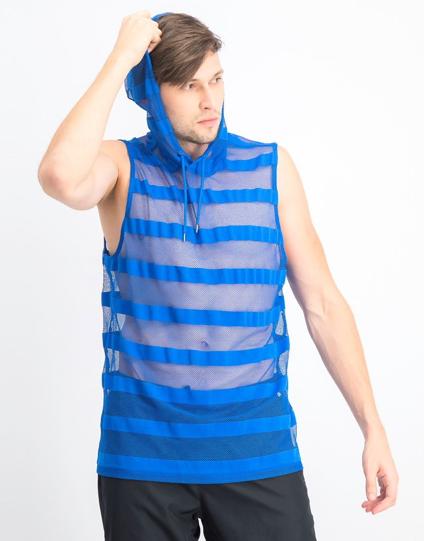 Men's Hooded Striped Mesh Tank, Vibrant Blue
