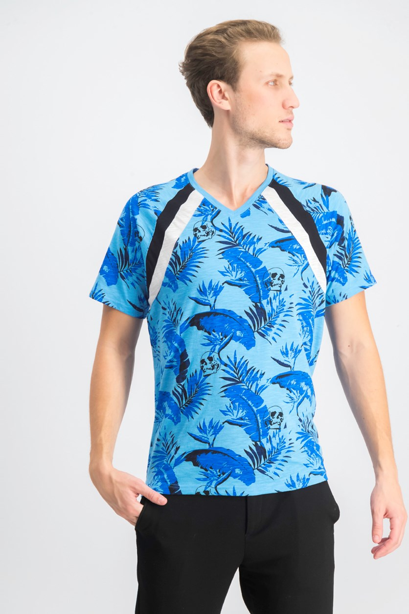 Men's Leaf & Skull T-Shirt, Pool Party Blue