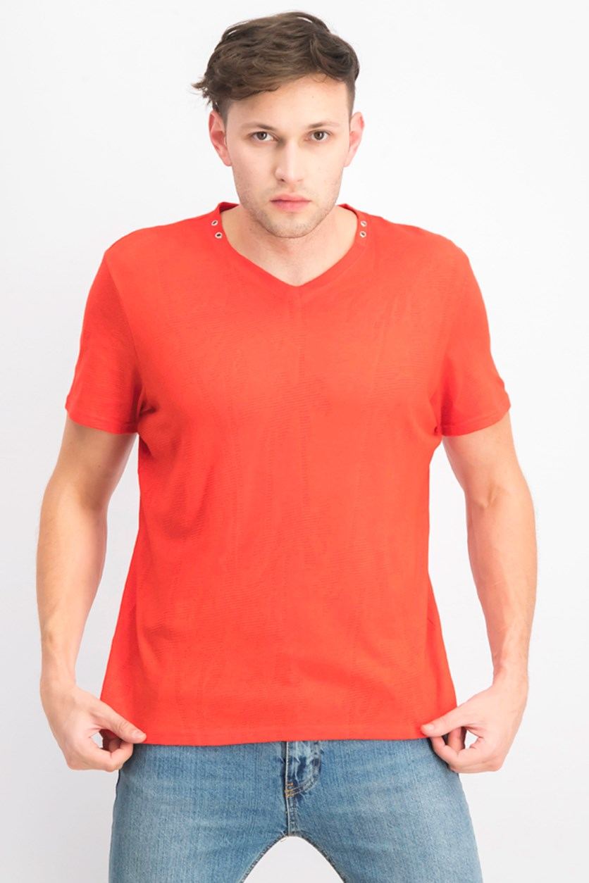 Men's Burnout Palm V-Neck T-Shirt, Hot Sauce
