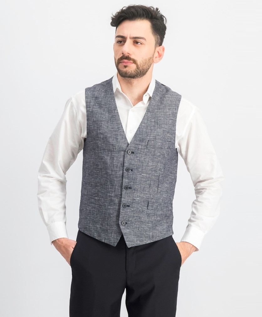 Men's Slim-Fit Linen Vest, Navy Combo