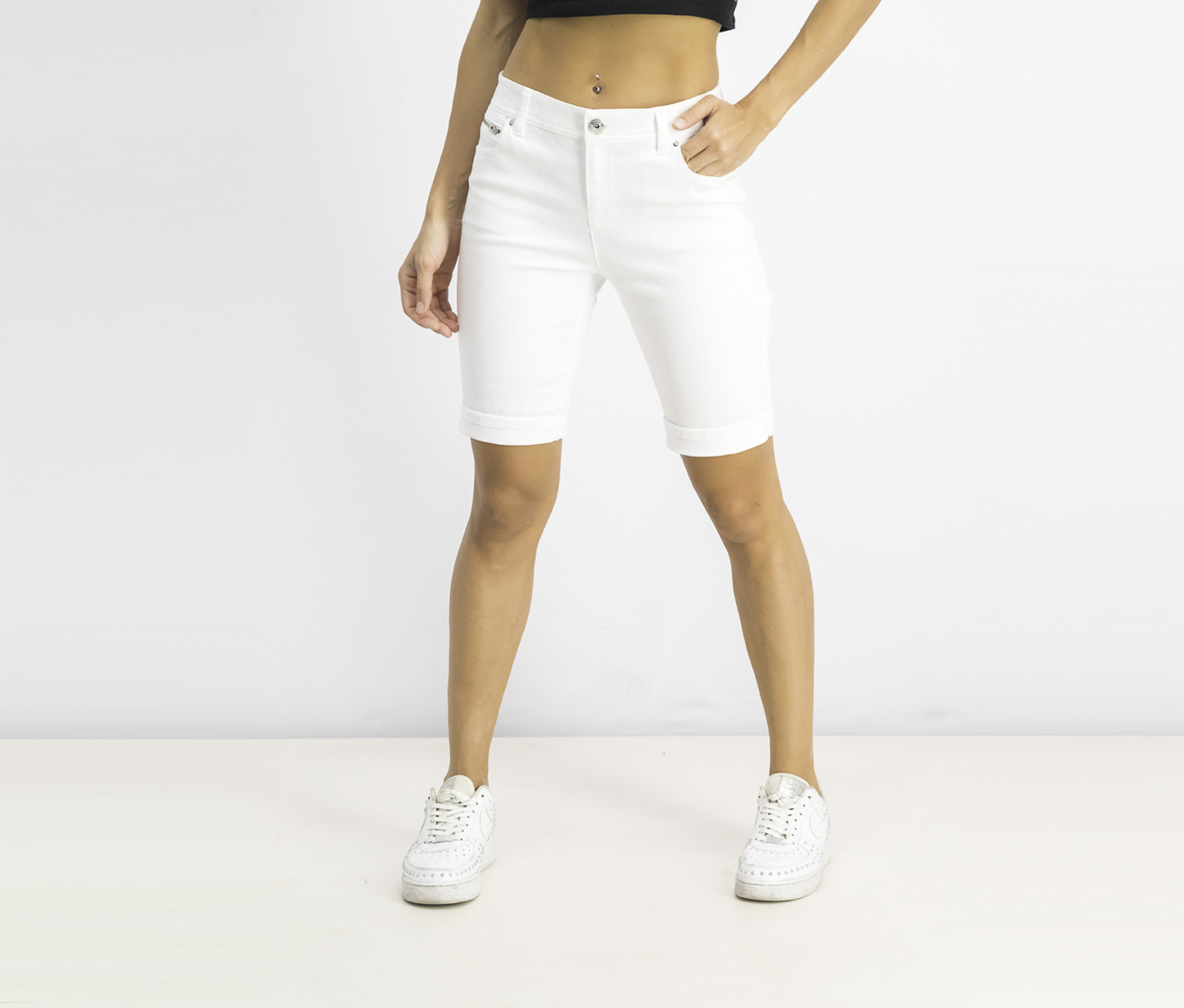 Women's Petite Denim Bermuda Shorts, White