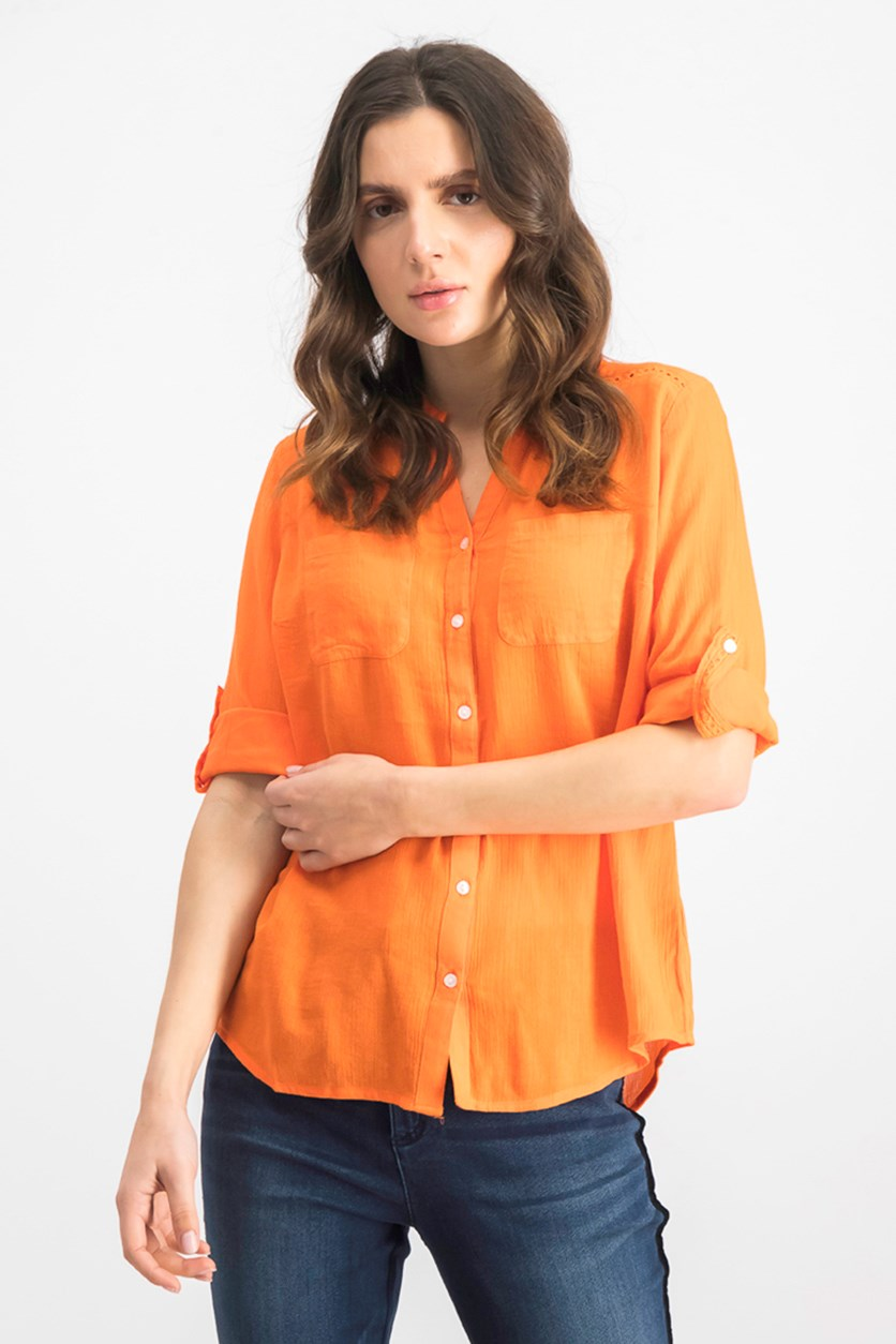 Women's  Roll-Tab Button-Down Top, Orange Petal