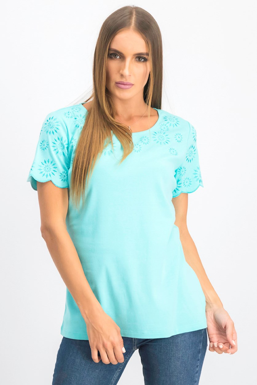 Women's Embroidered Cotton T-Shirt, Pacific Aqua