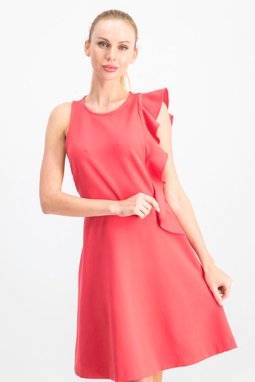 Asymmetrical Fit & Flare Dress, Coral