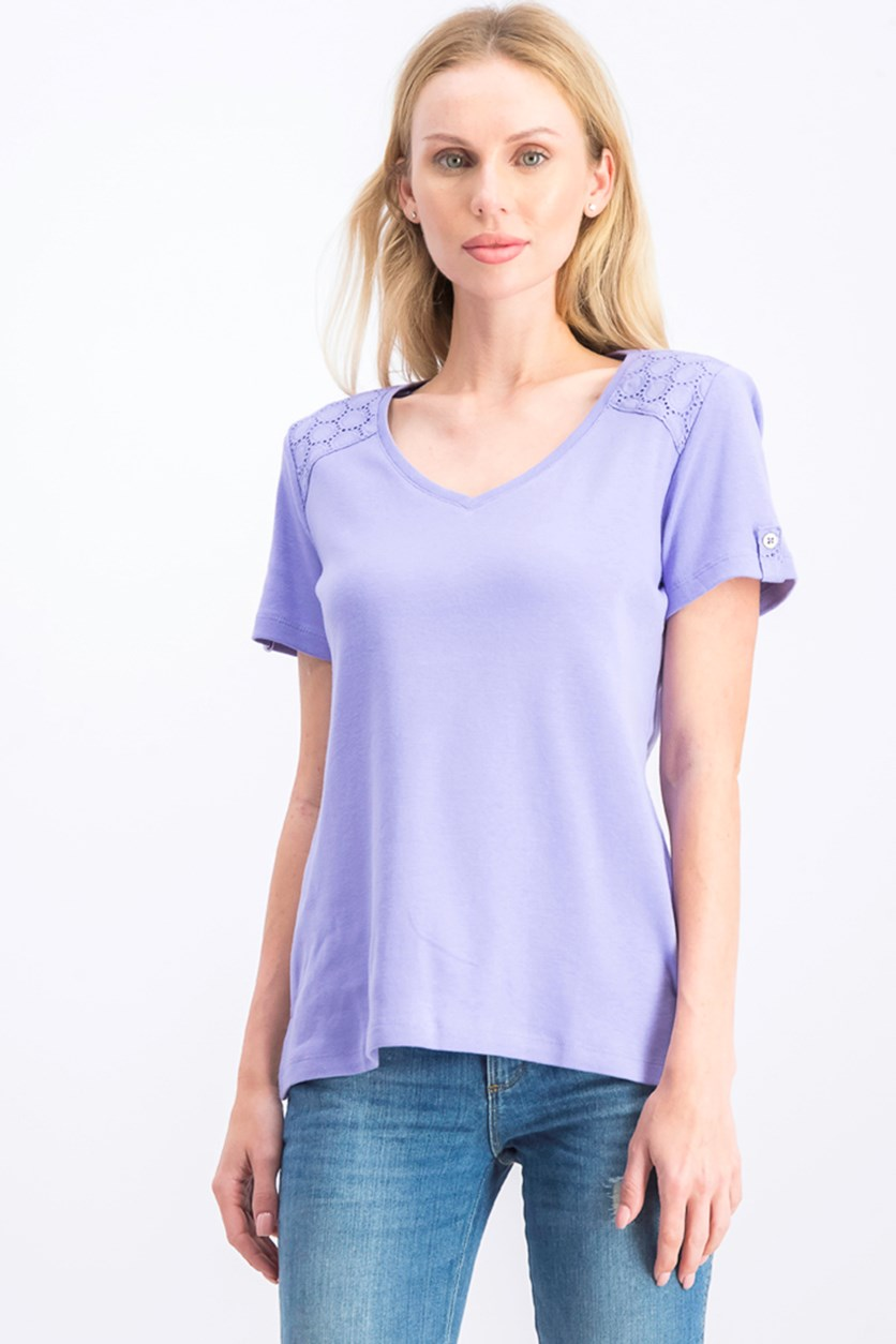 Women's V-Neck Cotton Top, Purple Bliss