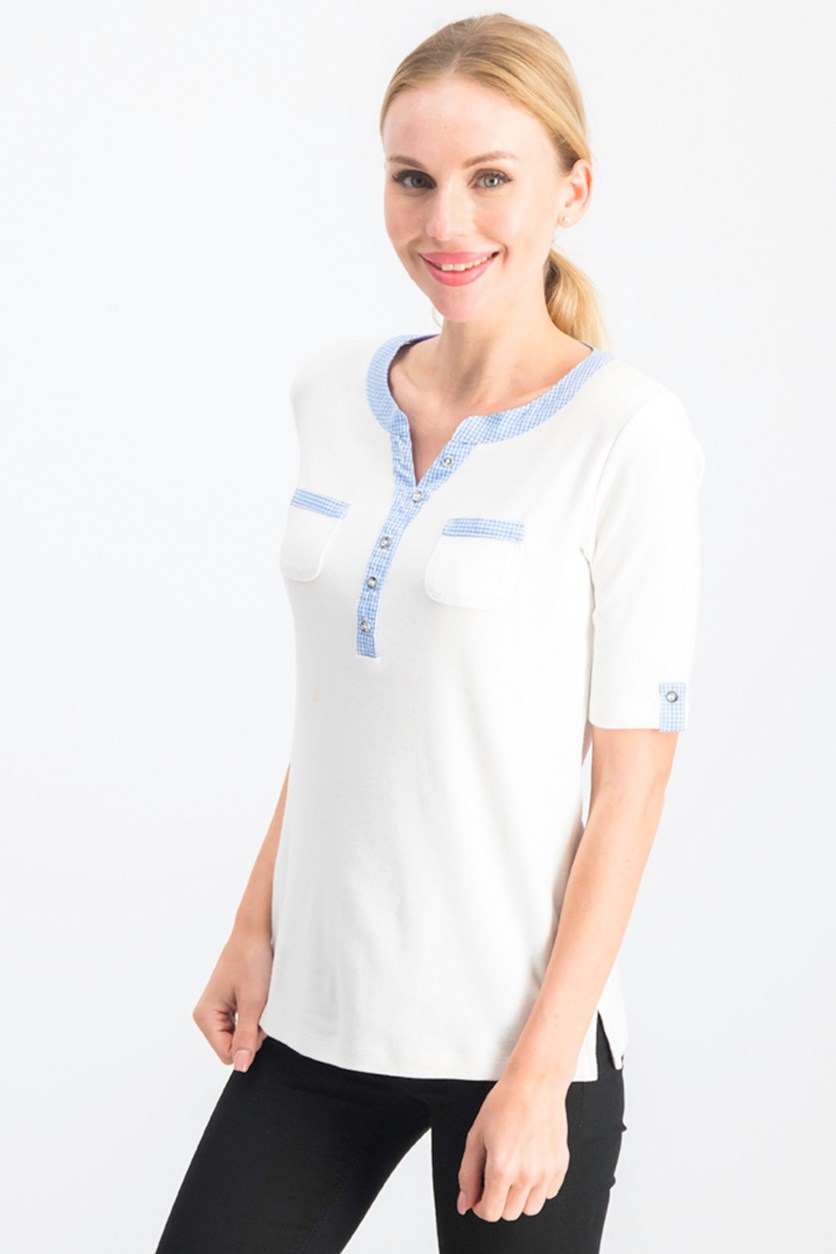 Petite Gingham-Trim Cotton Henley Top, White