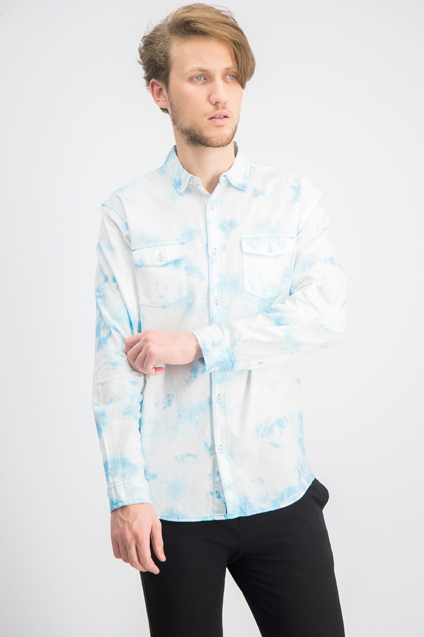 Men's Tie Dye Denim Shirt, Pool Party Blue