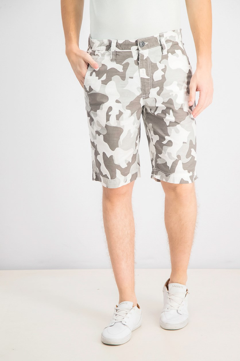 Men's 10 Chambray Camo Shorts, White Camo