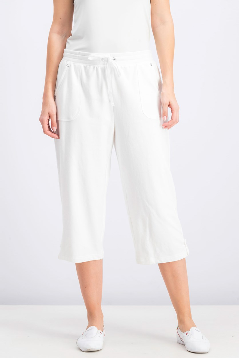 Women's French Terry Capri Pants, Bright White