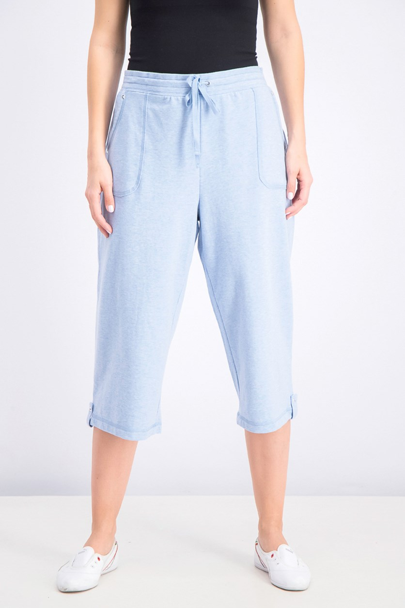 Women's French Terry Capri Pants, Light Blue