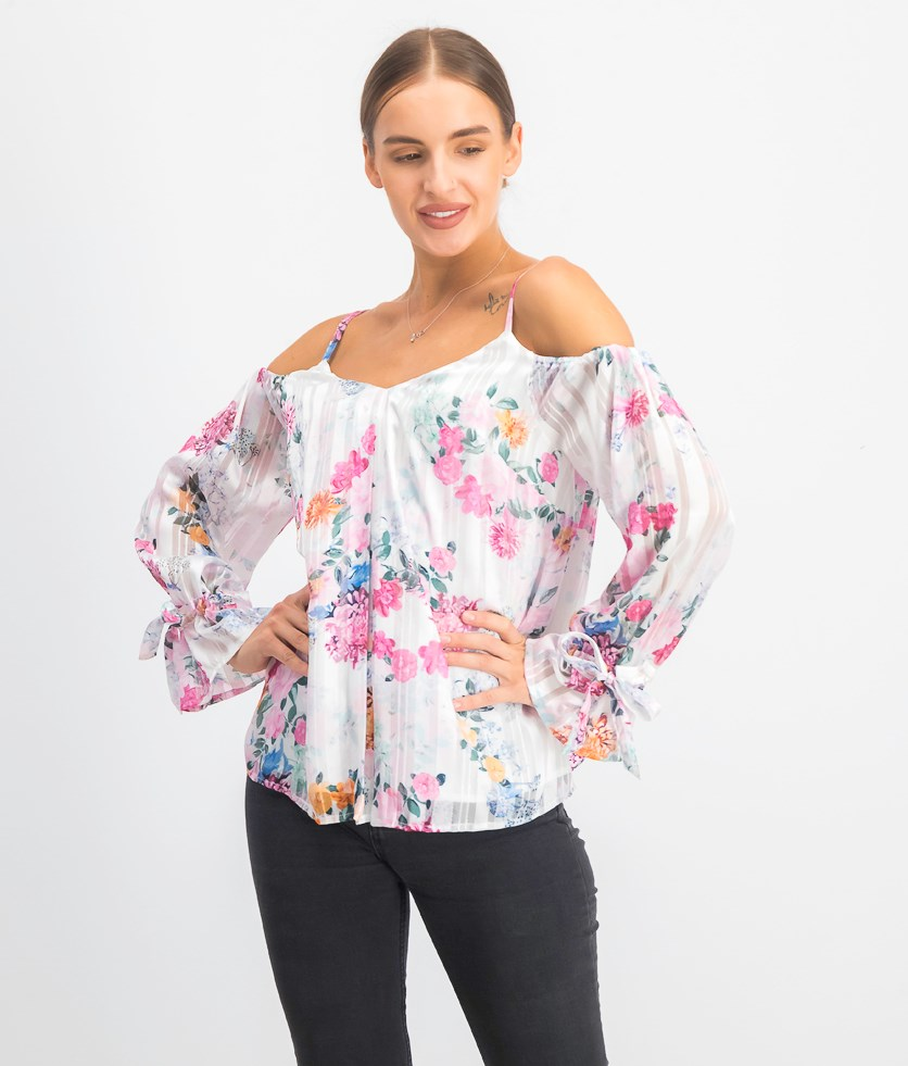 Women's Printed Cold-Shoulder Top, White Combo