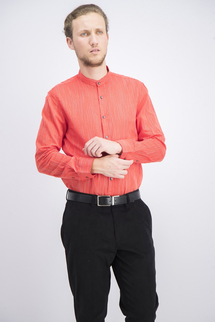 Men's Stripe Band-Collar Shirt, Hot Sauce