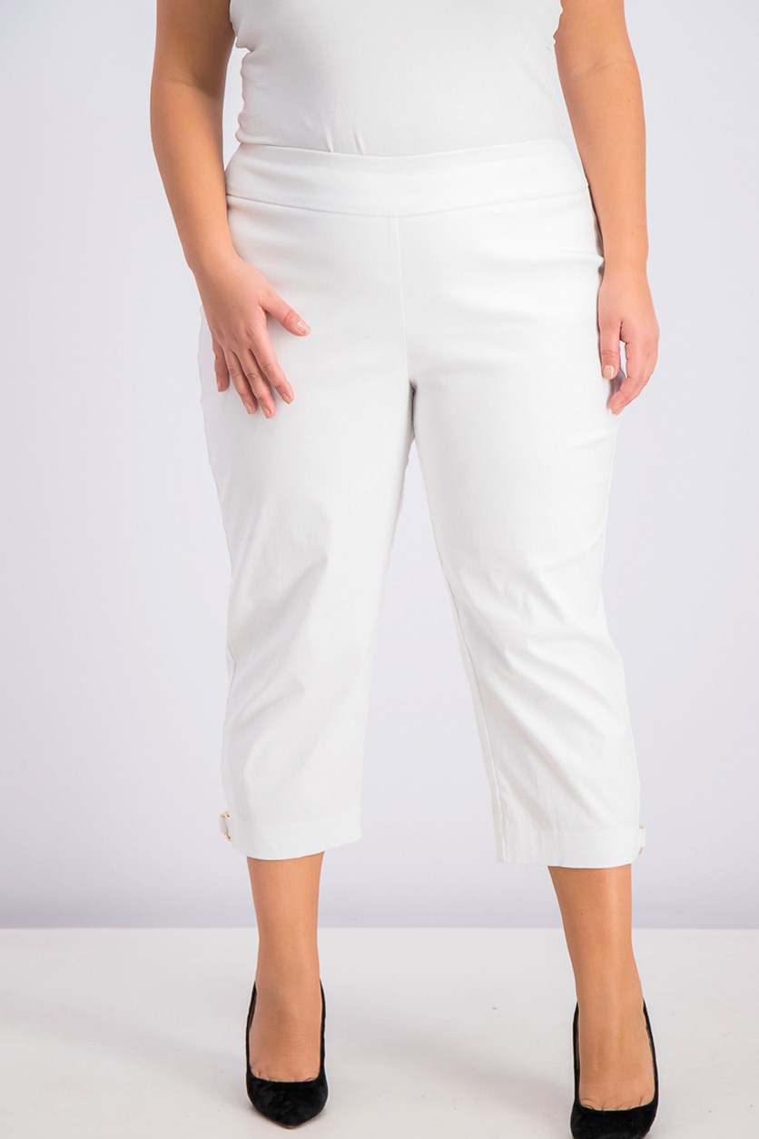 Womens Double-Ring Hem Capri Pants, White