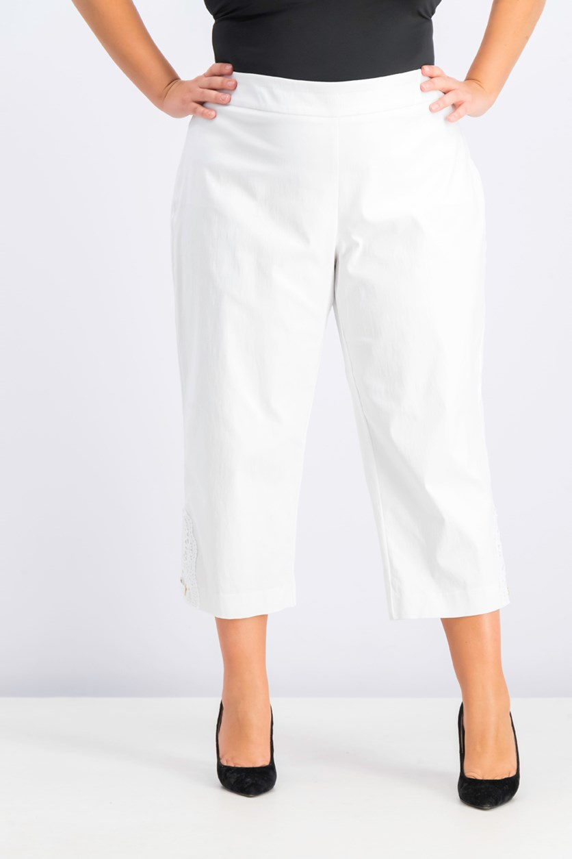 Women's Crochet-Lace Applique Capri Pants, Bright White