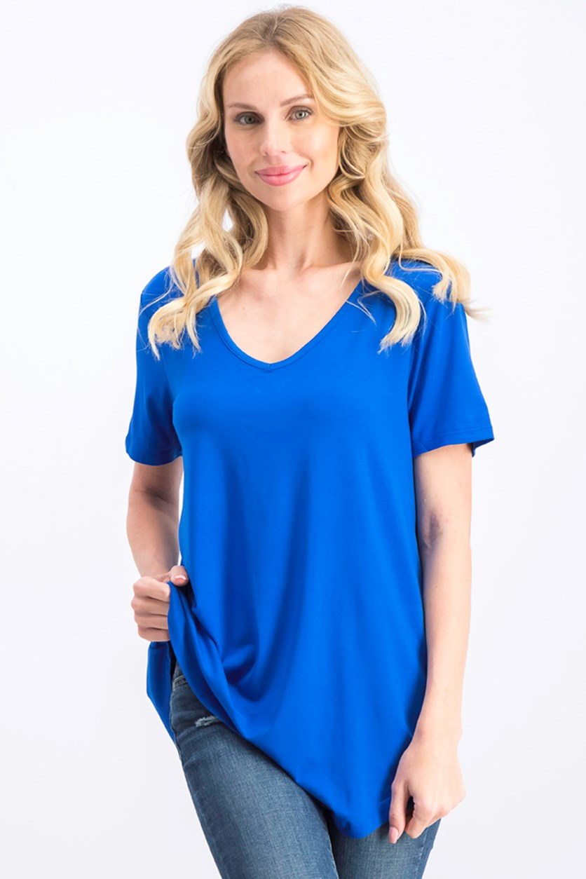 Women's Lattice-Back V-Neck Top, Blue Steel