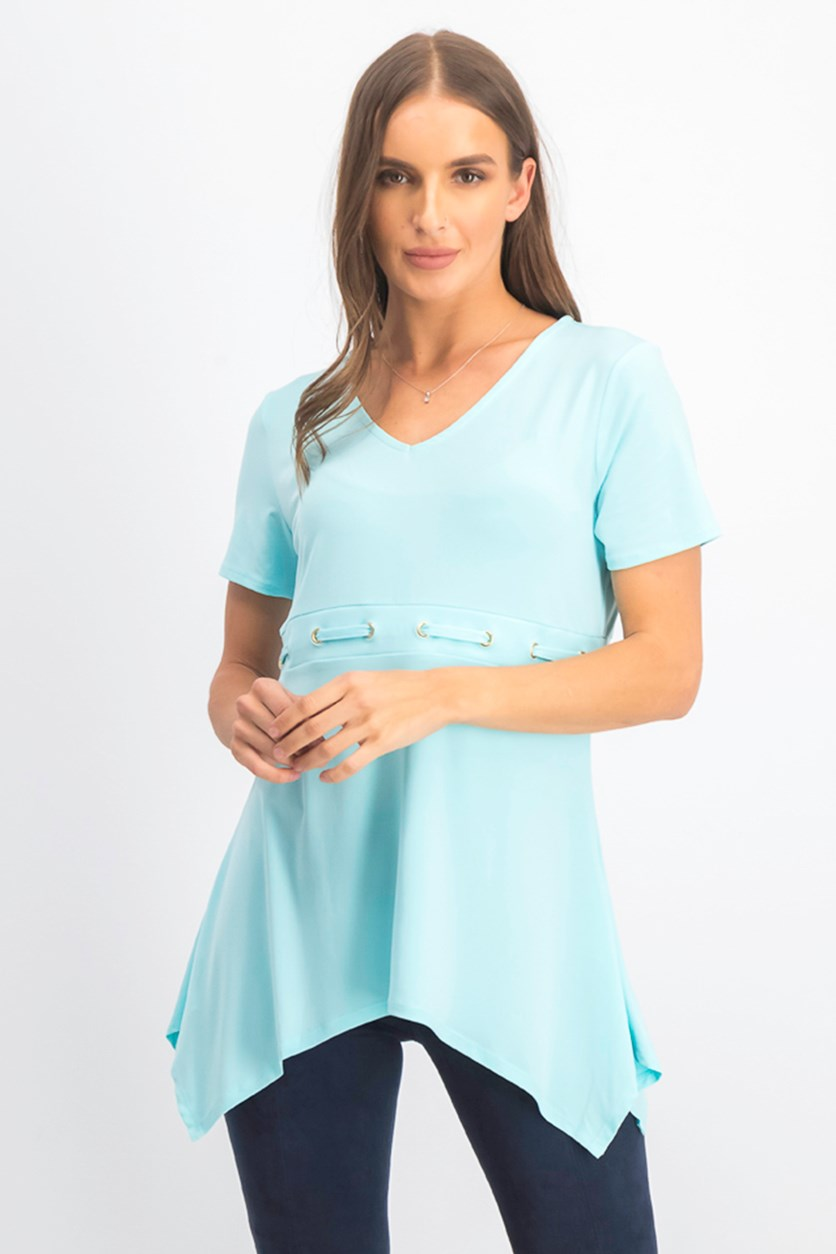 Women's Grommet-Waist V-Neck Tunic Top, Aqua Flash