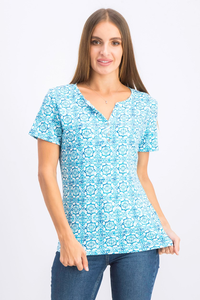 Women's Printed Short-Sleeve Henley Top, Pacific Aqua