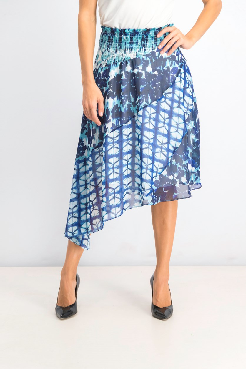 Women's Mixed-Print Tie-Dye Asymmetrical Skirt, Blue Combo