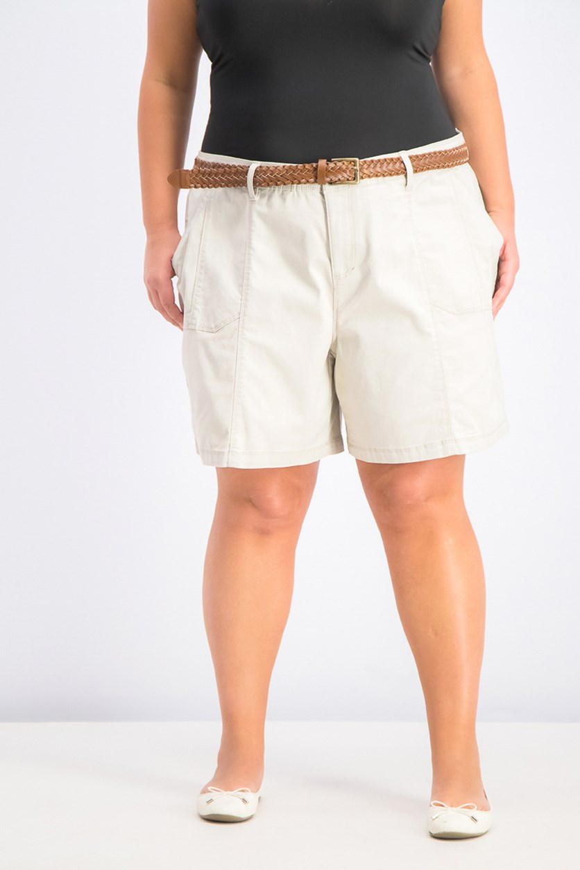 Women's Plus Size Belted Shorts, Stone Wall