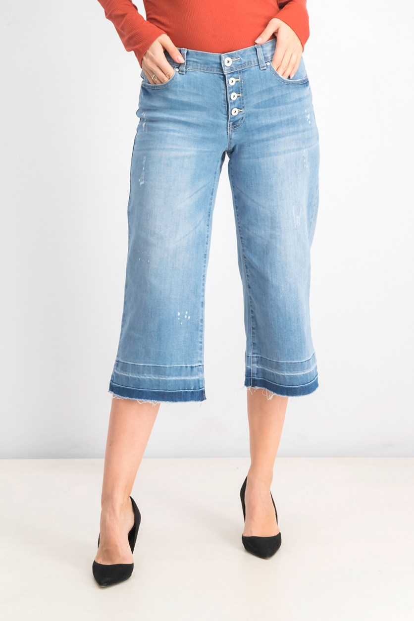 Women's Petite Cropped Wide-Leg Released-Hem Jean, Light Indigo