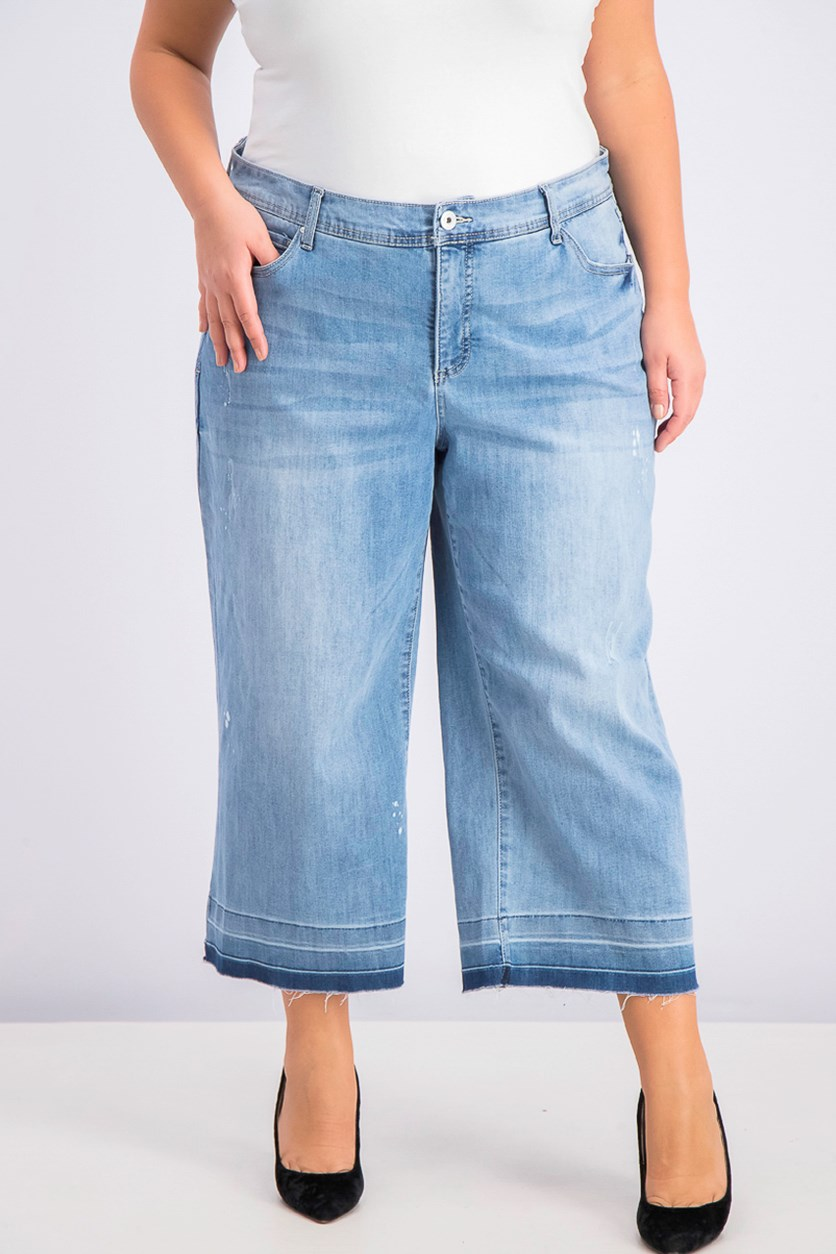Womens Plus Size Cropped Culotte Jeans, Light Wash Indigo
