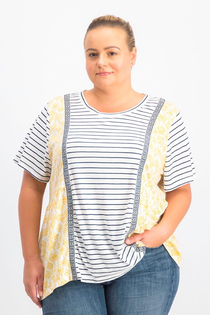 Women's Plus Size Mixed-Print T-Shirt, Harmony Yellow