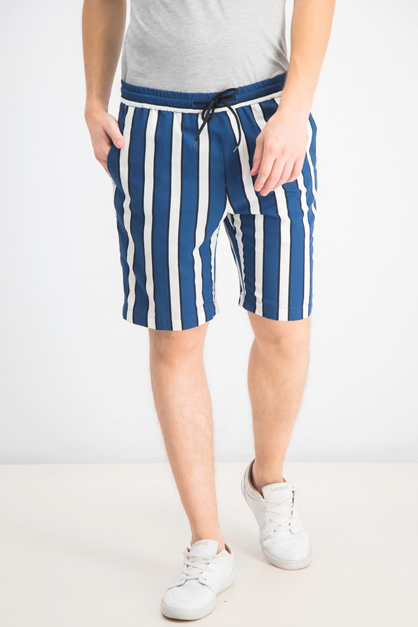 Men's Striped Casual Shorts, White/Navy