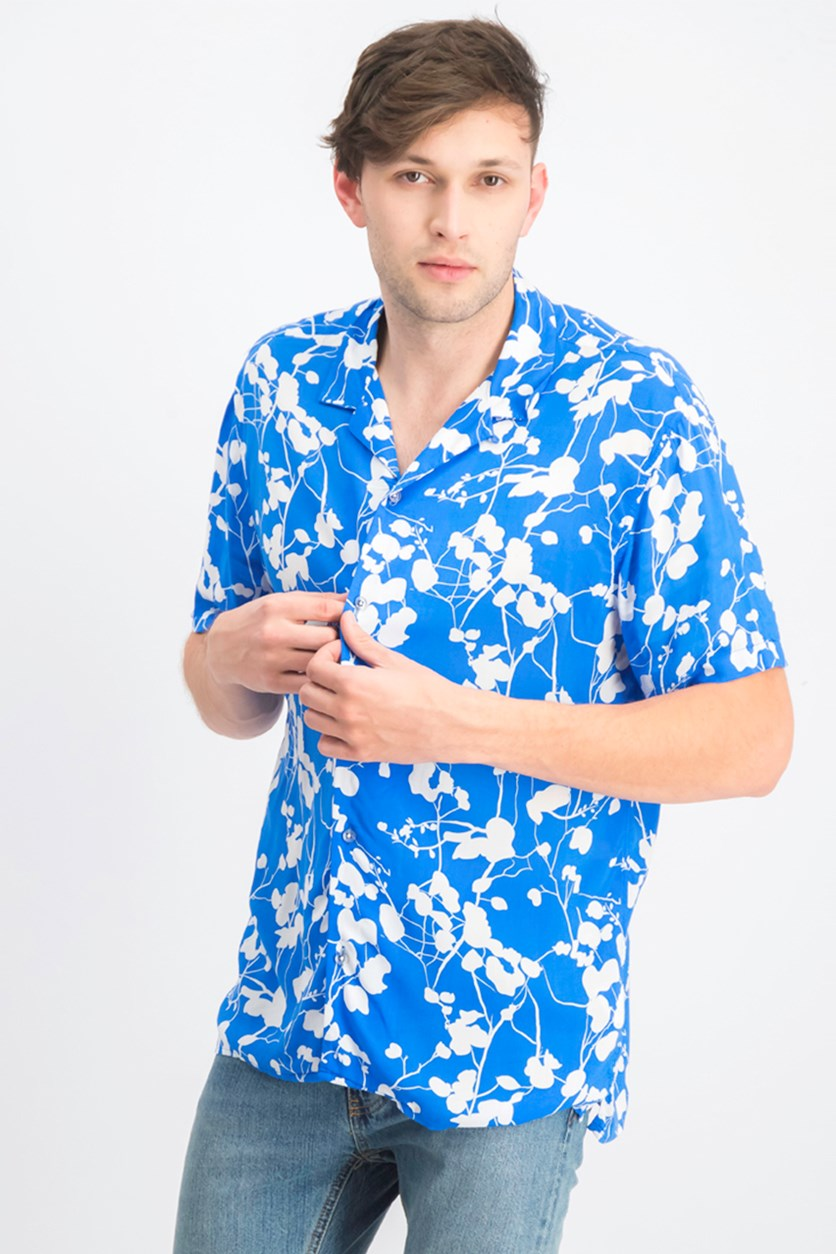 Mens Twig Leaf Shirt, Vibrant Blue