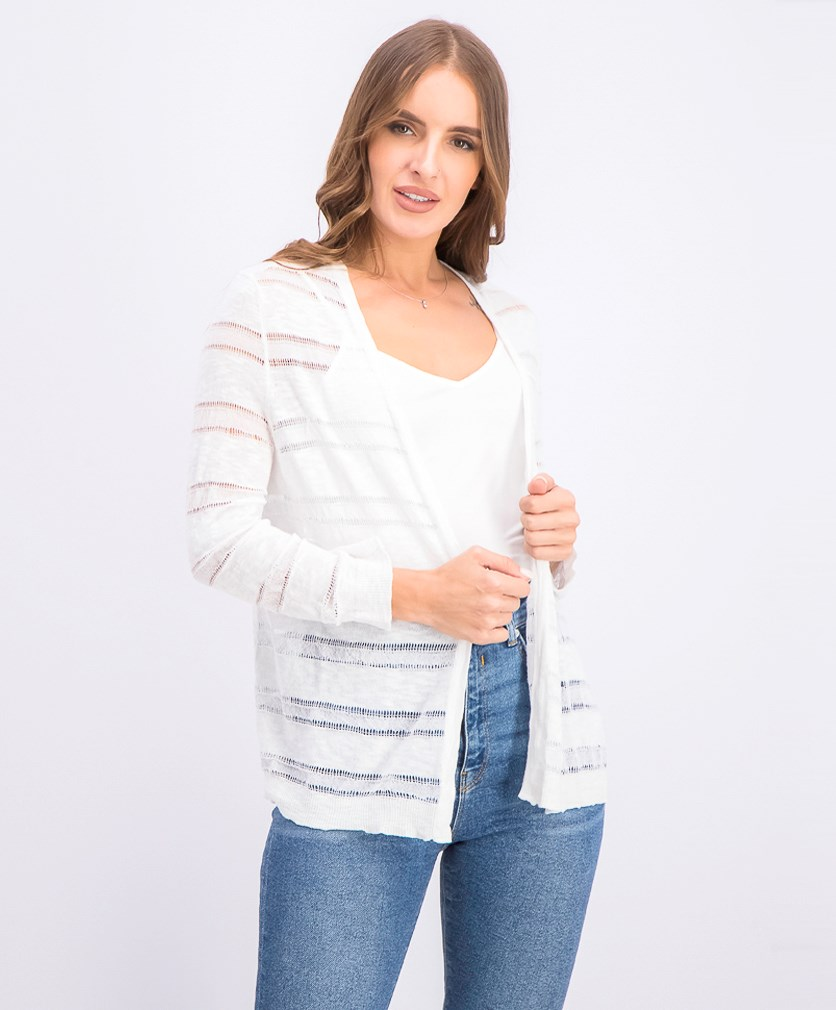 Women's Petite Pointelle-Stripe Cardigan, Bright White