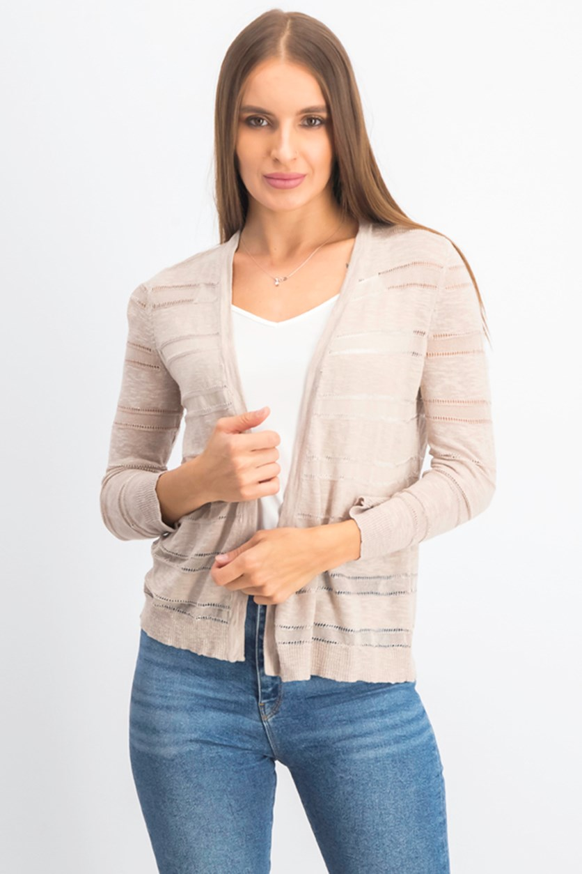 Women's Petite Sheer Cardigan, Sugar Sand